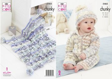 King Cole Chunky Knitting Pattern - Baby Set (5465)